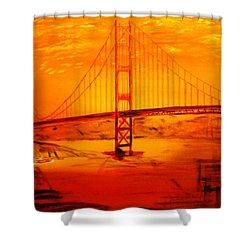 Sunset At Golden Gate Shower Curtain by Helmut Rottler