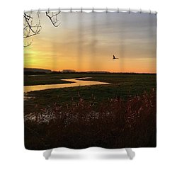 Sunset At Holkham Today  #landscape Shower Curtain by John Edwards