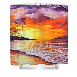 Shower Curtain featuring the painting Sunset At Kapalua Bay by Darice Machel McGuire