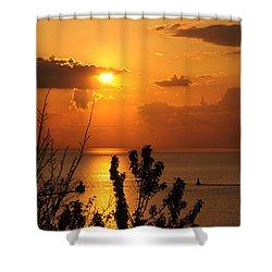 Sunset At Lake Huron Shower Curtain by Joe  Ng