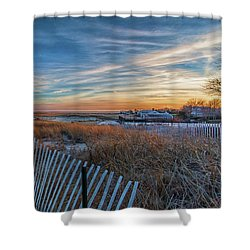 Sunset At Lighthouse Beach In Chatham Massachusetts Shower Curtain