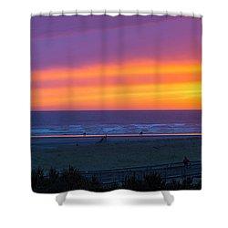 Sunset At Long Beach Washington Shower Curtain