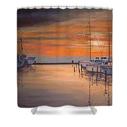 Sunset At Marina Shower Curtain