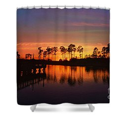 Sunset At Market Commons II Shower Curtain by Kathy Baccari