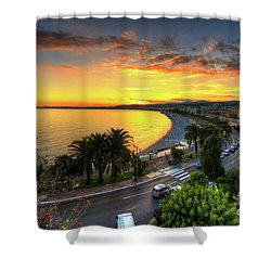 Shower Curtain featuring the photograph Sunset At Nice by Yhun Suarez