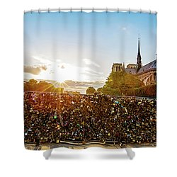 Sunset At Notre Dame De Paris Shower Curtain