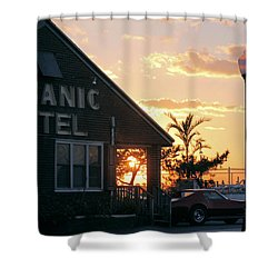 Sunset At Oceanic Motel Shower Curtain