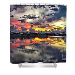Sunset At Oyster Lake Shower Curtain