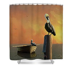 Sunset At Pelican Cove Shower Curtain