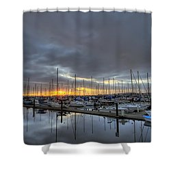 Sunset At Port Gardner Shower Curtain