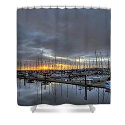 Sunset At Port Gardner Shower Curtain