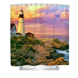 Sunset At Portland Head Shower Curtain