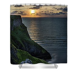 Sunset At Rhossili Bay Shower Curtain