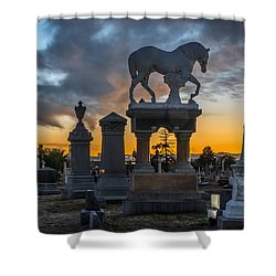 Sunset At Riverside Cemetery Shower Curtain