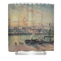 Sunset At Rouen Shower Curtain by Camille Pissarro