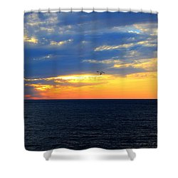 Shower Curtain featuring the photograph Sunset At Sail Away by Shelley Neff