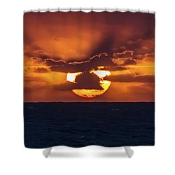 Shower Curtain featuring the photograph Sunset At Sea by John Haldane