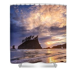 Shower Curtain featuring the photograph Sunset At Second Beach by Dan Mihai