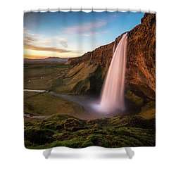 Sunset At Seljalandsfoss Shower Curtain