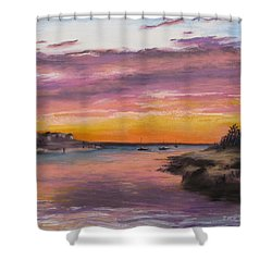 Sunset At Sesuit Harbor Shower Curtain by Jack Skinner