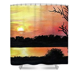 Shower Curtain featuring the painting Sunset At Shire River In Malawi by Dora Hathazi Mendes