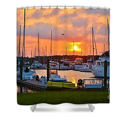 Sunset At Southport Marina 2 Shower Curtain