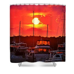 Shower Curtain featuring the photograph Sunset At Southport Marina by Kelly Nowak