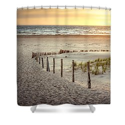 Shower Curtain featuring the photograph Sunset At The Beach by Hannes Cmarits