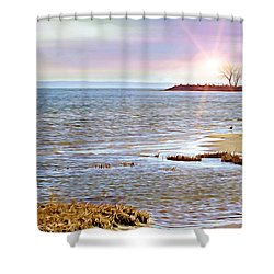 Sunset At The Beach - Tod's Point Shower Curtain