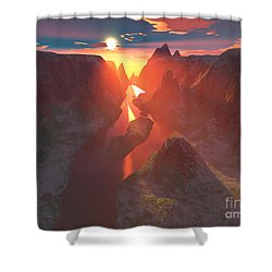 Sunset At The Canyon Shower Curtain by Gaspar Avila