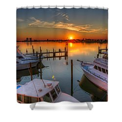 Sunset At The Marina Shower Curtain by Tim Stanley