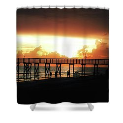Sunset At The Pier Shower Curtain by Bill Cannon