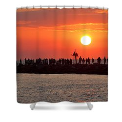 Sunset At The South Jetty, Venice, Florida, Usa Shower Curtain