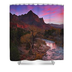 Sunset At The Watchman During Autumn At Zion National Park Shower Curtain