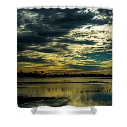 Sunset At The Wetlands Shower Curtain