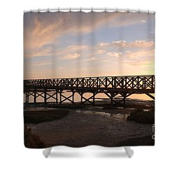 Sunset At The Wooden Bridge Shower Curtain