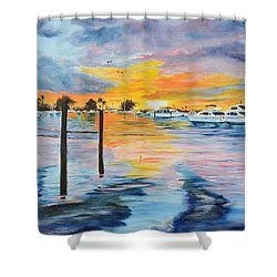 Sunset At The Yacht Club Shower Curtain