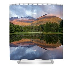 Sunset At Torren Lochan Shower Curtain