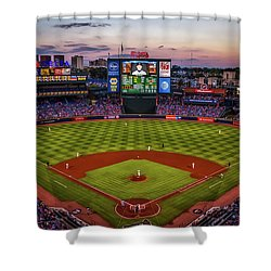 Sunset At Turner Field - Home Of The Atlanta Braves Shower Curtain