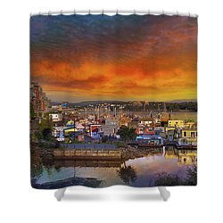 Sunset At Victoria Inner Harbor Fisherman's Wharf Shower Curtain by David Gn