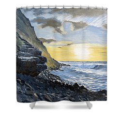 Sunset At Warren Point Duckpool Shower Curtain