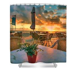 Sunset At Zandvoort Shower Curtain by Nadia Sanowar
