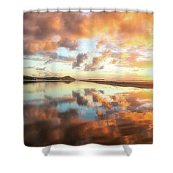 Sunset Beach Reflections Shower Curtain