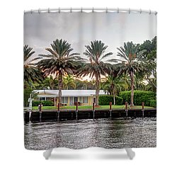 Sunset Behind Residential Palms Shower Curtain