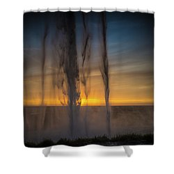 Sunset Behind The Waterfall Shower Curtain by Chris McKenna