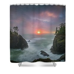 Shower Curtain featuring the photograph Sunset Between Sea Stacks With Trees Of Oregon Coast by William Lee