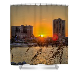 Sunset Between The Condos Shower Curtain