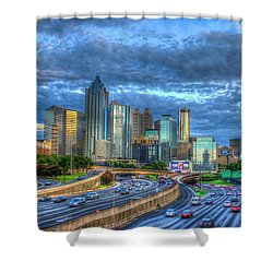 Shower Curtain featuring the photograph Sunset Blue Glass Reflections Atlanta Downtown Cityscape Art by Reid Callaway