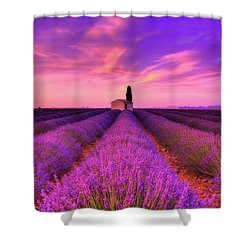 Sunset Blues Shower Curtain by Midori Chan