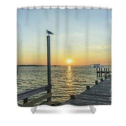 Sunset Tour Boat Off Dewey Destin Fl Pier 1186a Shower Curtain